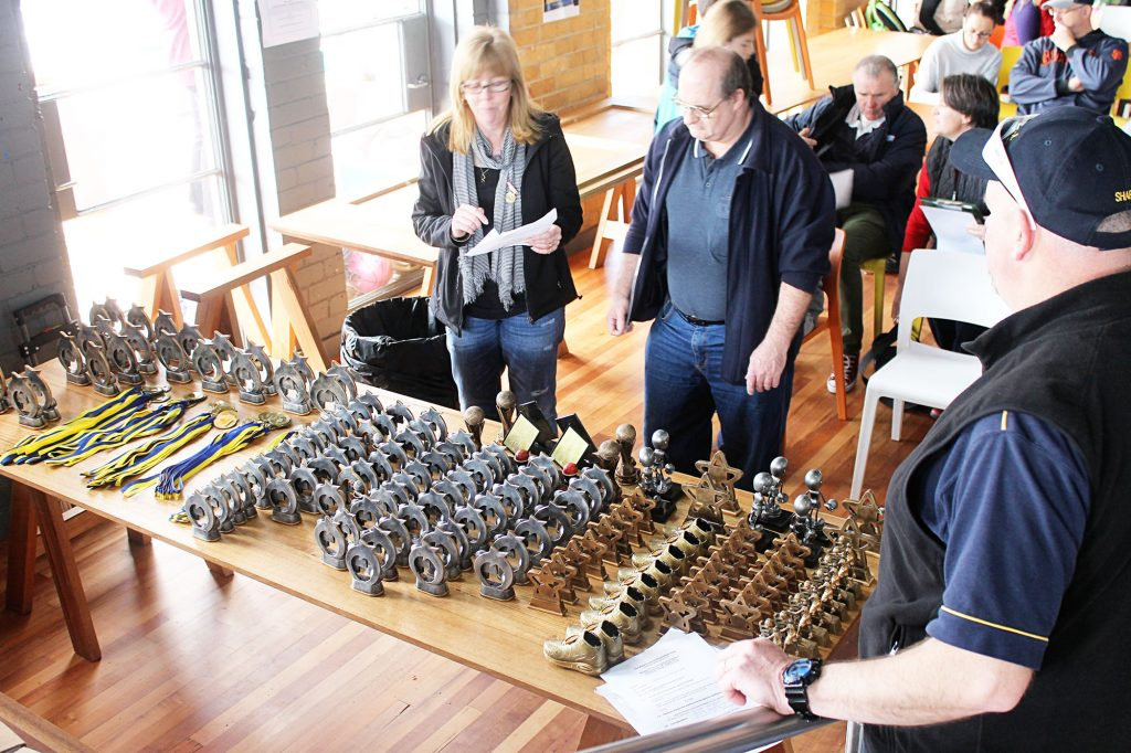 The Committee preparing trophies for 2016 presentation