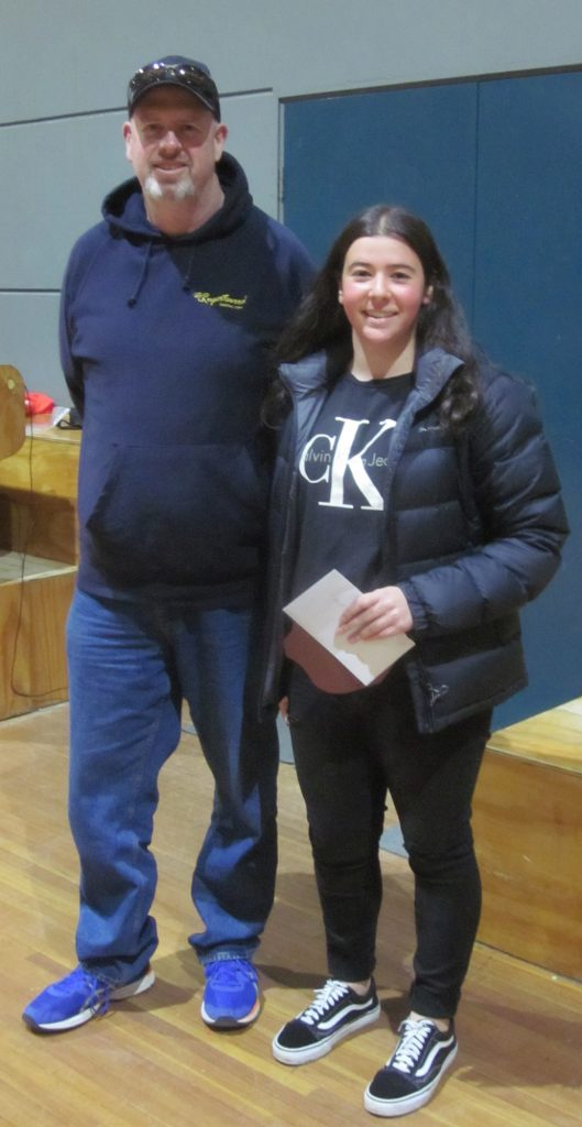 The Mick Stewart Memorial Award trophy went to Tara from U16 girls and presented by President David Tweedly