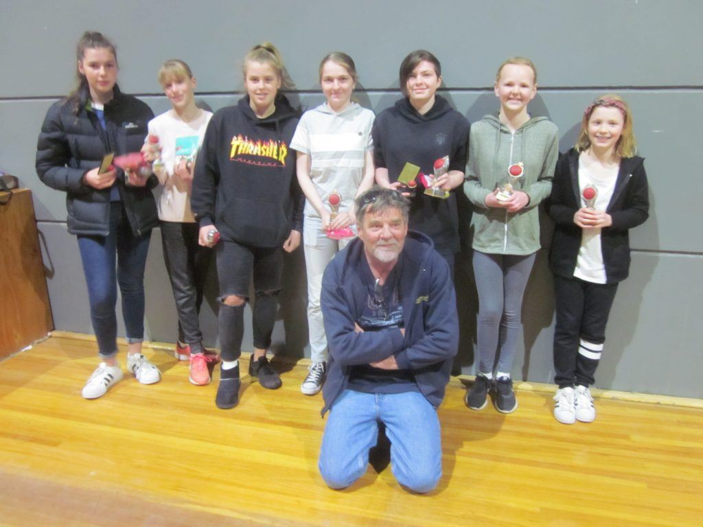 U14B girls Rupo 1 with coach Doug Bell at 2018 Presentation Day